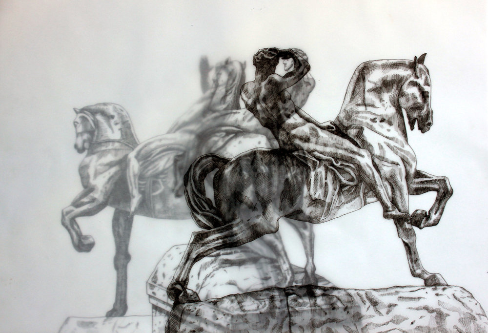 Adele van Heerden  Physical Energy 1  Layered ink on butcher paper & Fabriano  29.7 x 42 cm