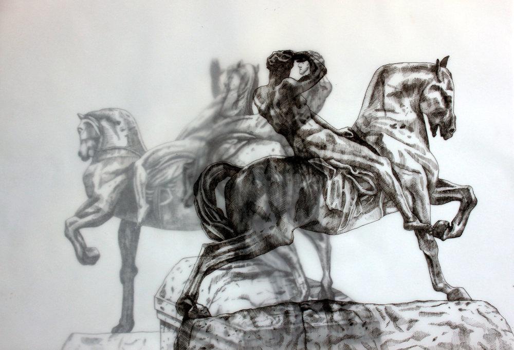 Adele van Heerden  Physical Energy 1  Layered ink on butcher paper & Fabriano  29.7 x 42 cm