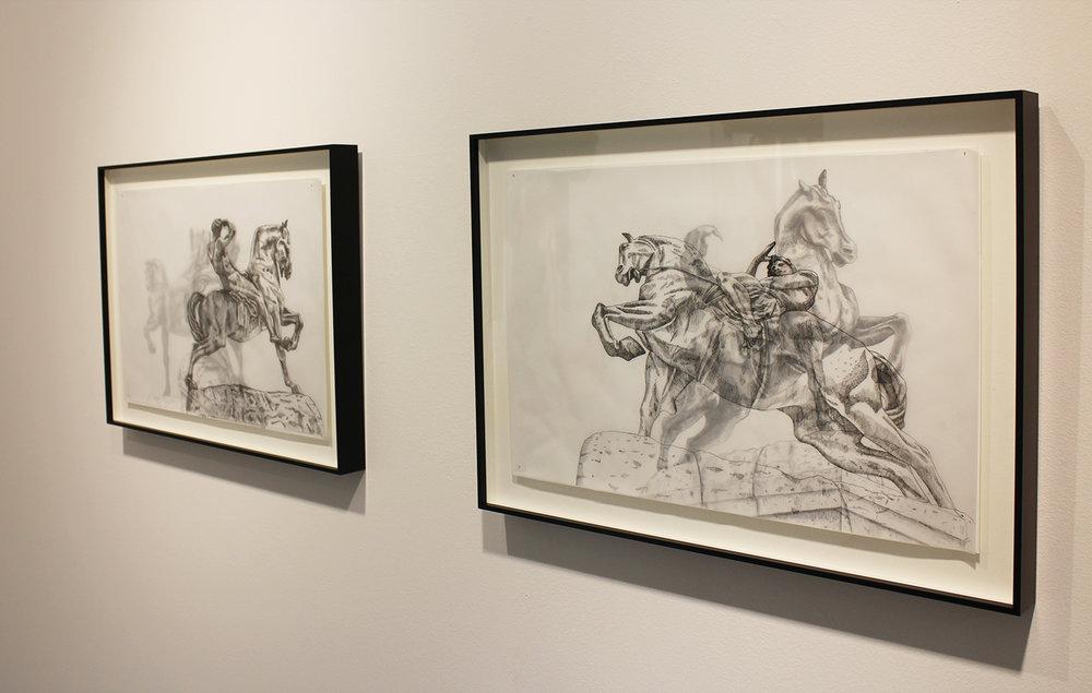 Adele van Heerden  Physical Energy 1 & 2  Layered ink on butcher paper & Fabriano  29.7 x 42 cm