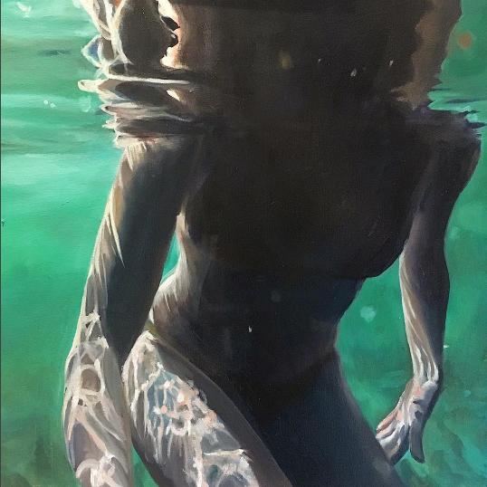 Geena Wilkinson  Verdigris (self-portrait) 2/6  Oil on canvas  45 x 45 cm