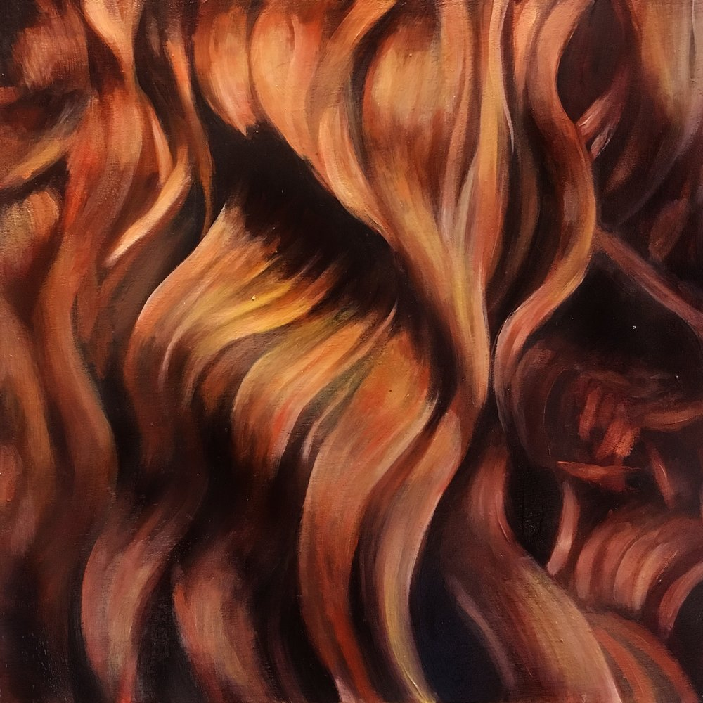 Geena Wilkinson  Verdigris (self-portrait) 6/6  Oil on canvas  45 x 45 cm
