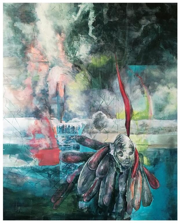Karen Cronje  Burden, 2017  Oil on canvas  138 x 110 cm