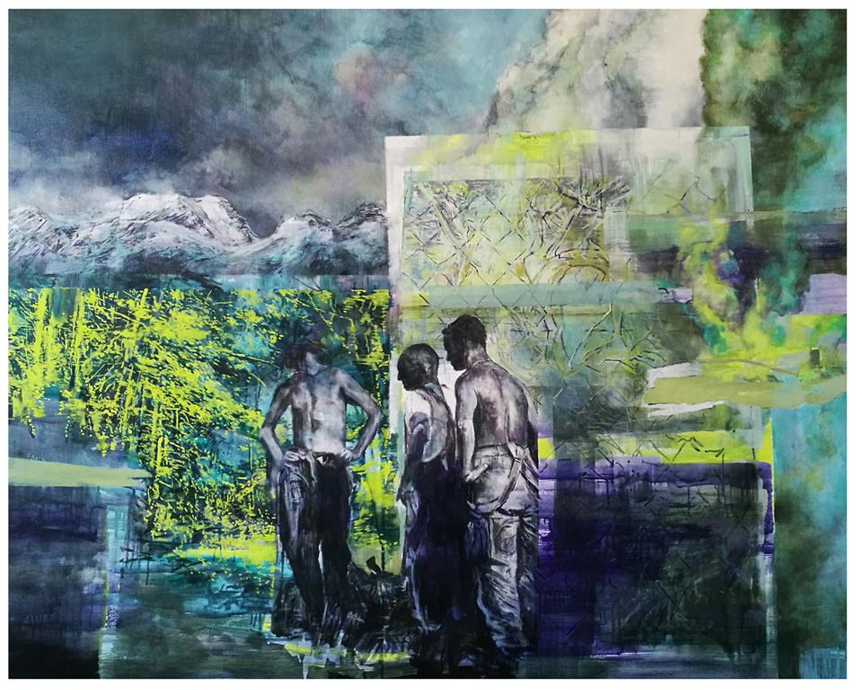 Karen Cronje  Diffusion of Responsibility, 2017  Oil on canvas  110 x 138 cm