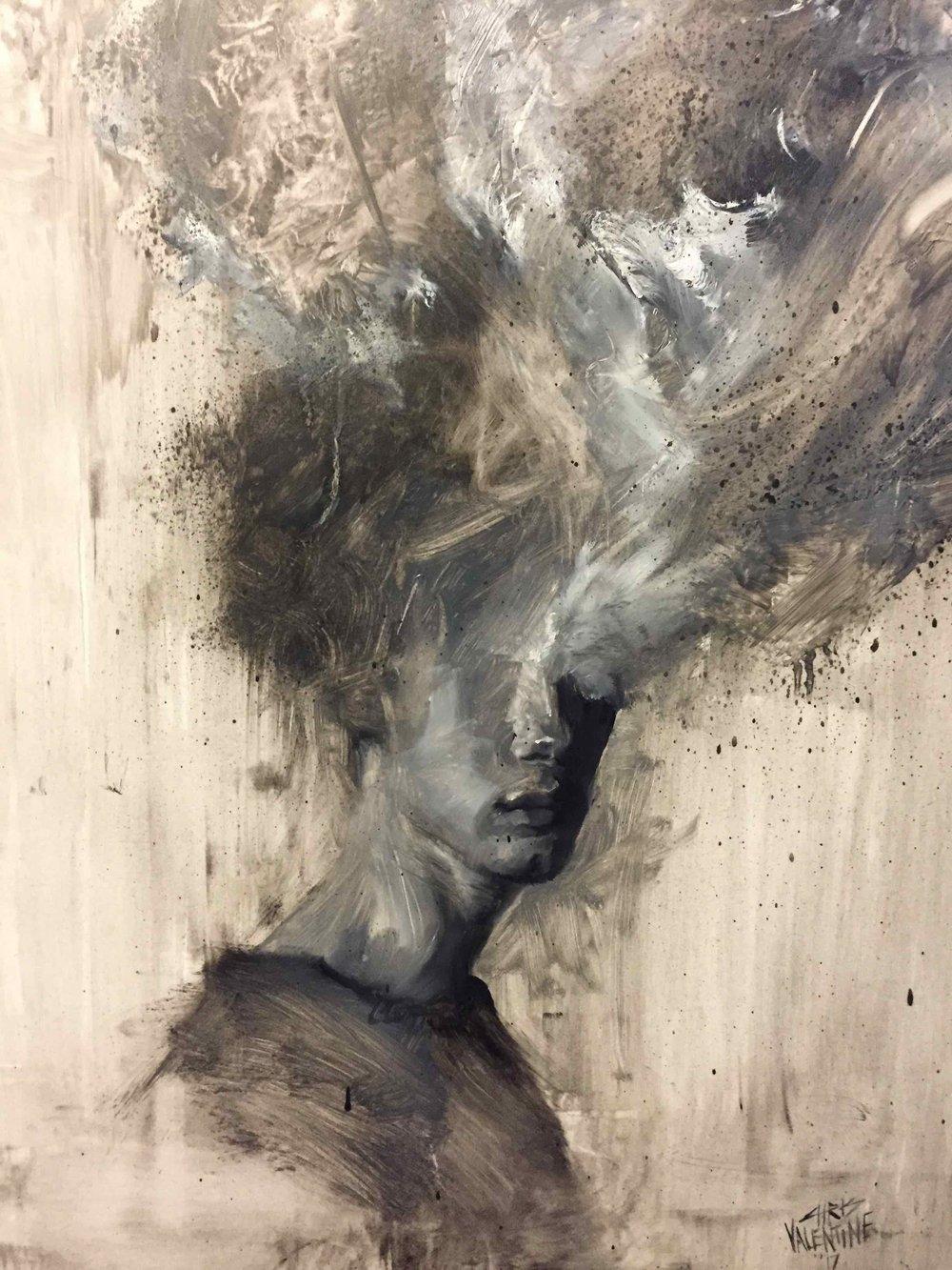Chris Valentine  3XPLOD3 VII  Oil on panel  41,5 x 32 cm