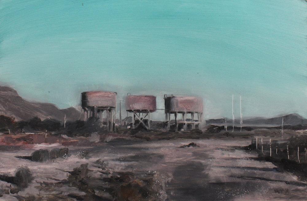 Chris Valentine  ShadowLands I  Oil on panel  36 x 23.5 cm