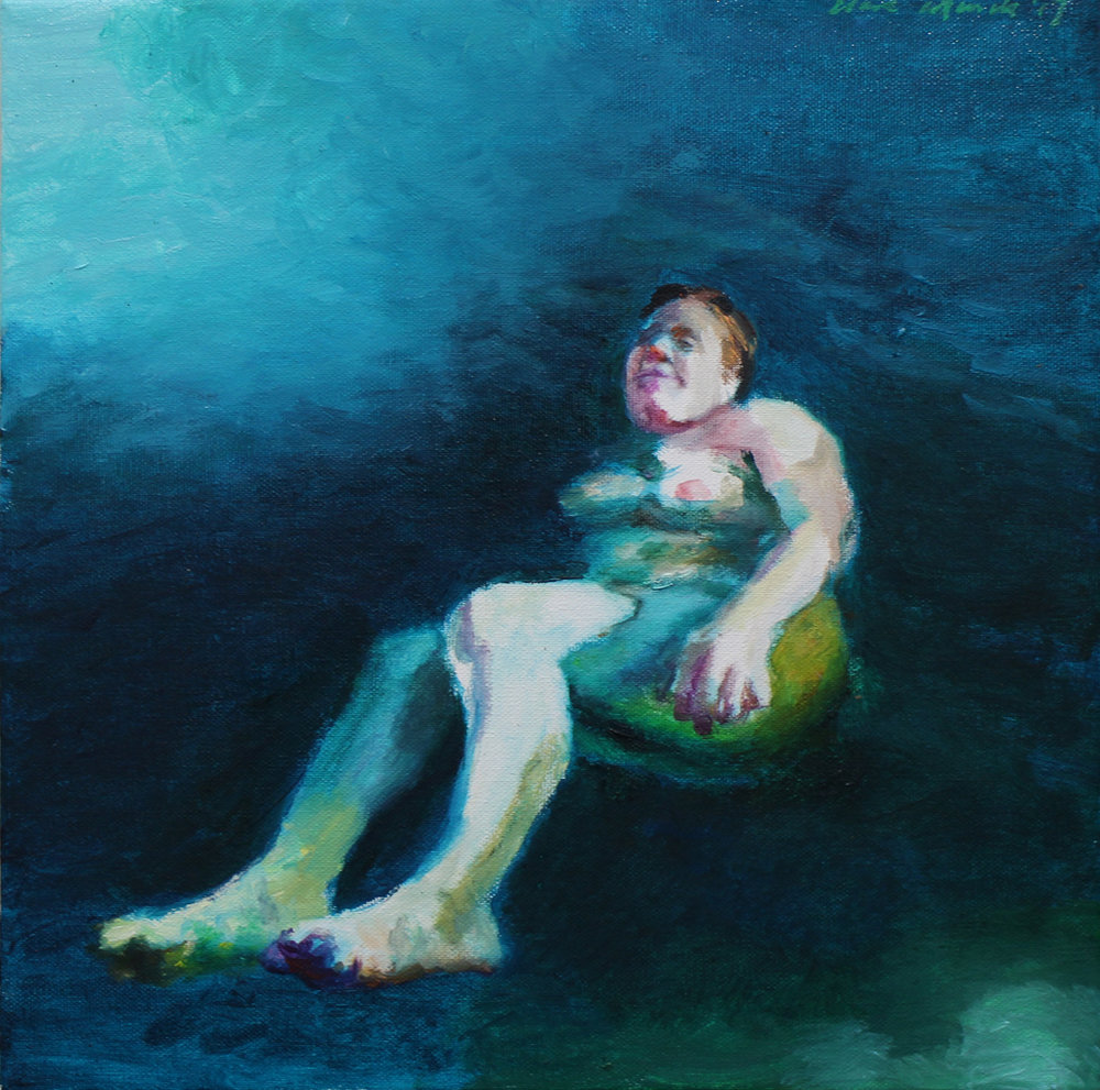 Clare Menck  Viridian green float  Oil on canvas  30 x 30 cm
