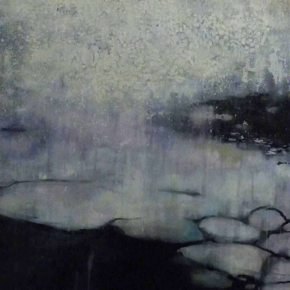 Snow Bird (detail) Melted Antarctic sea ice & watercolour overlayed with oil on canvas 122 x 152 cm