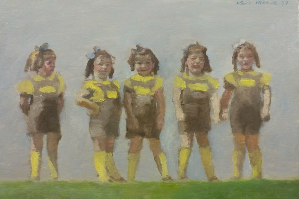 Clare Menck  'Forties quintuplets in yellow socks & ribbons'  Oil on wood  20 x 30 cm