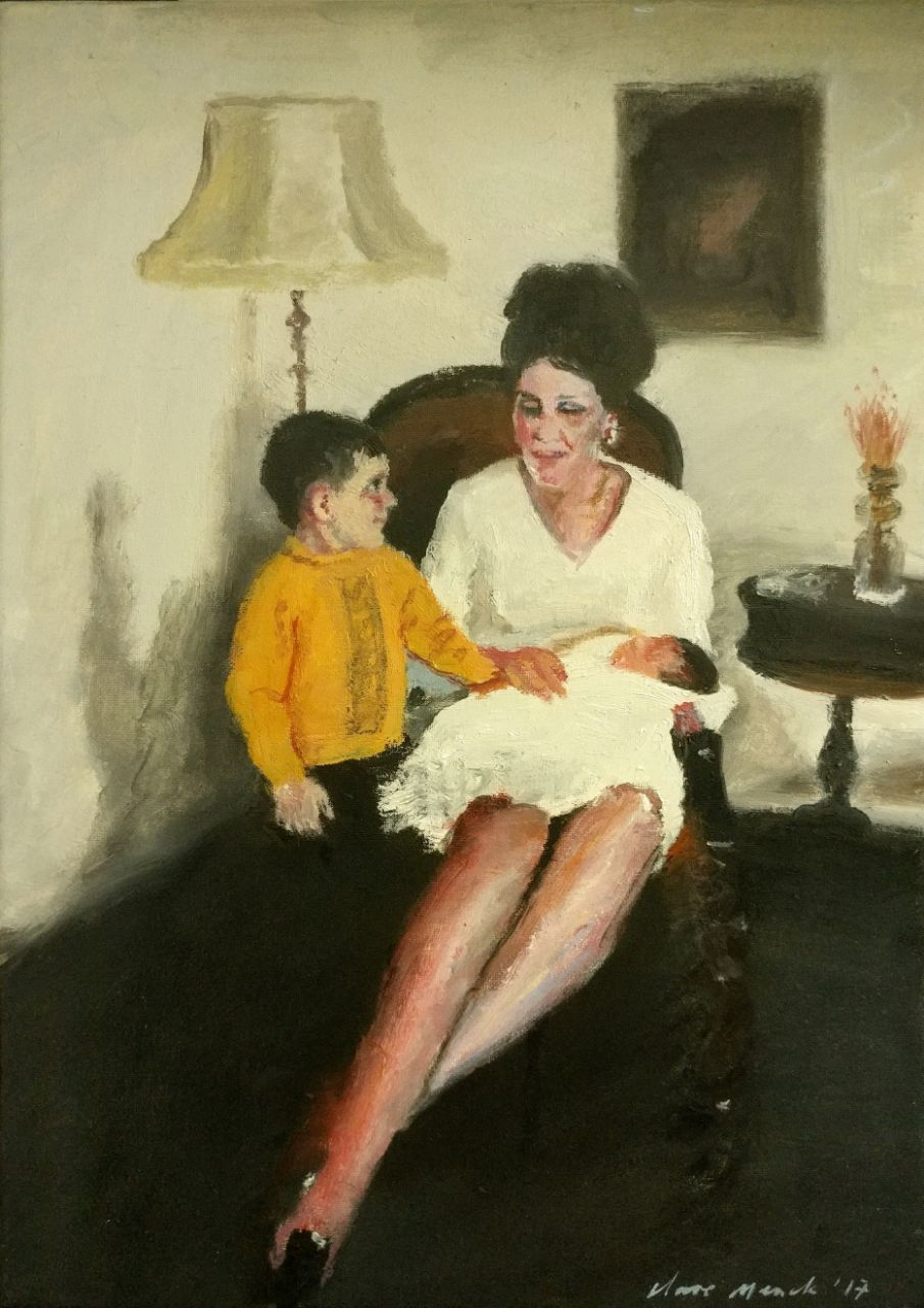 Clare Menck  'Sixties Madonna & children'  Oil on canvas  35 x 25 cm