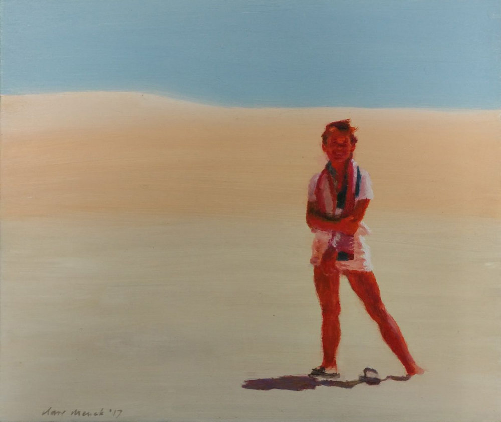 Clare Menck  'Eighties teenager on a dune'  Oil on wood  27 x 32 cm