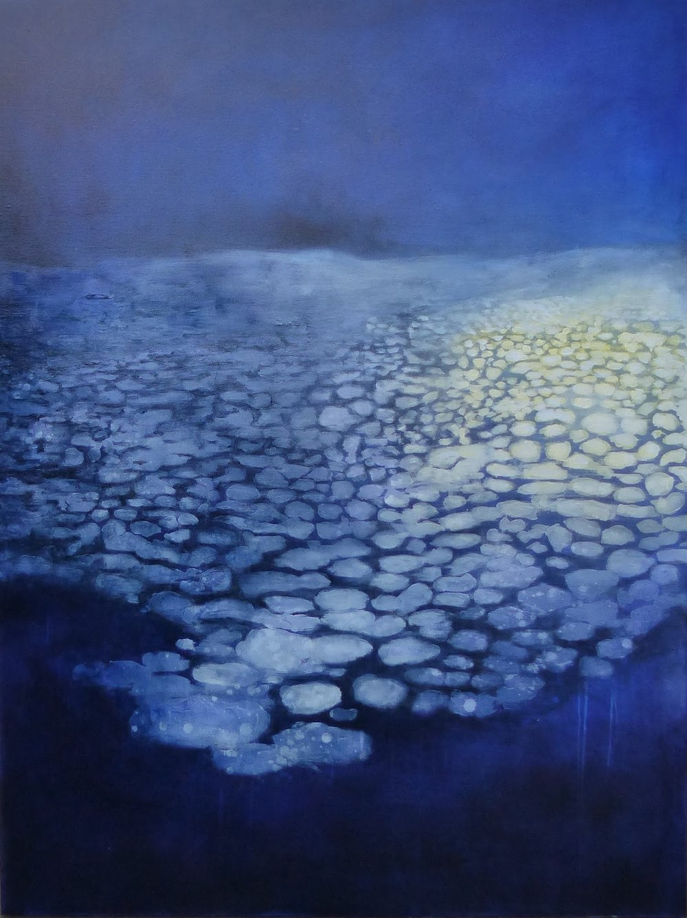 Katrine Claassens  'Ship Light in The Night'  Melted Antarctic sea ice, watercolour and oil on canvas  121 x 91 cm