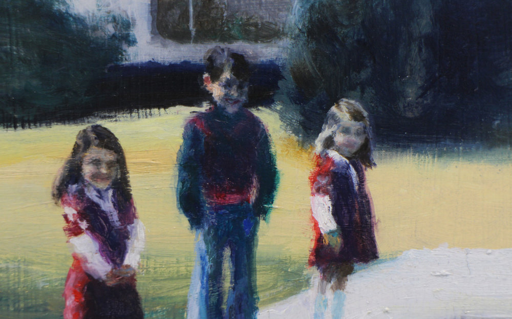 Clare Menck 'The nuclear physicist's children' Oil on wood 31 x 25 cm
