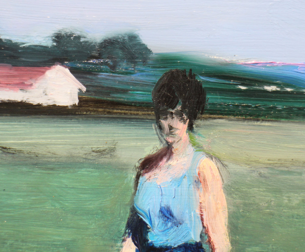Clare Menck  'The nuclear physicist's wife' detail  Oil on wood  25 x 31 cm