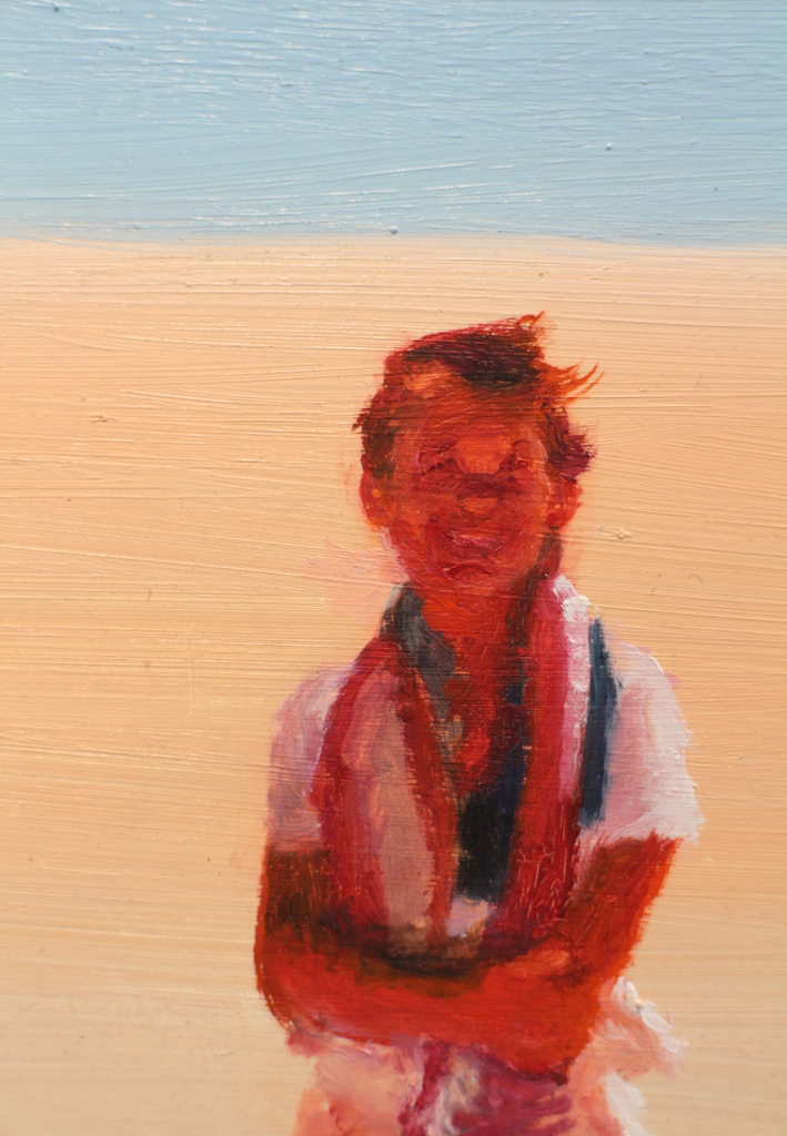 Clare Menck  'Eighties teenager on a dune' detail  Oil on wood  27 x 32 cm