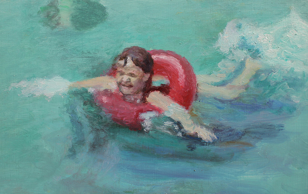 Clare Menck  Summer holiday swimmers scene (detail)  Oil on wood  31.5 x 26.5 cm