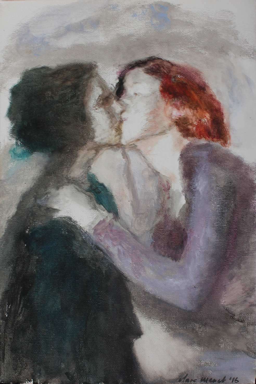 Clare Menck  Vintage Kiss  Oil on canvas  30 x 20 cm