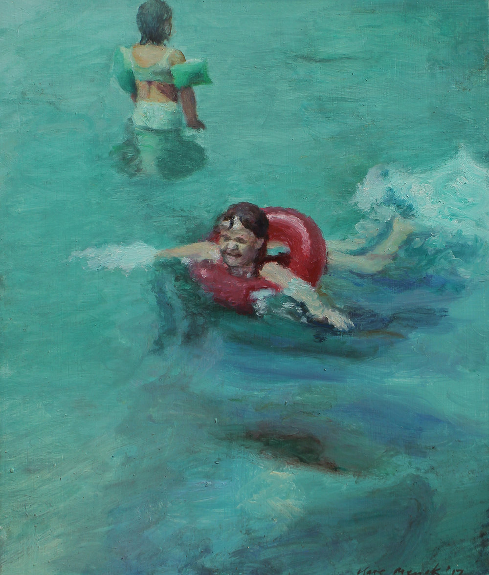 Clare Menck  Summer holiday swimmers scene  Oil on wood  31.5 x 26.5 cm