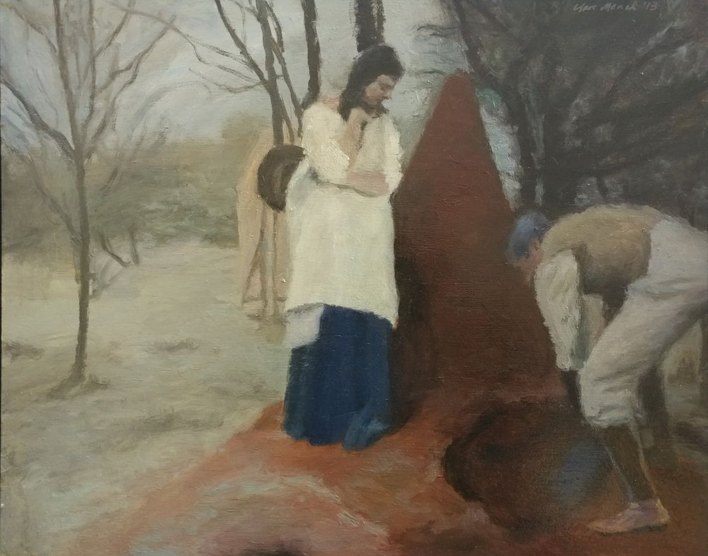 Clare Menck  'Woman with ant mound (Eugene Marais digging)'  Oil on wood  40 x 50 cm