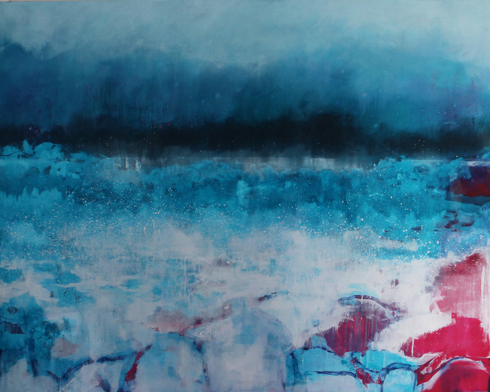 Katrine Claassens  'We came at a time'  Melted Antarctic sea ice, watercolour and oil on canvas  152.4 x 121.9 cm