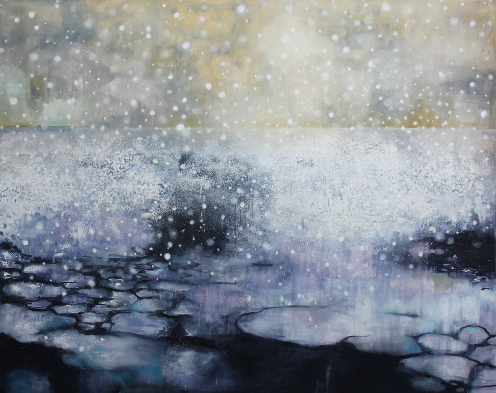 Katrine Claassens  Last Hours of Ancient Sunlight  Melted Antarctic sea Ice, watercolour and oil on canvas  121.9 x 152.4 cm