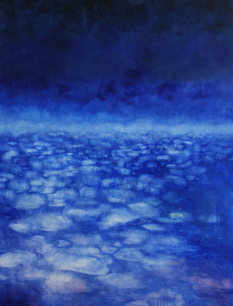 Katrine Claassens  Sea Change  Melted Antarctic sea ice, watercolour and oil on canvas  121 x 91 cm
