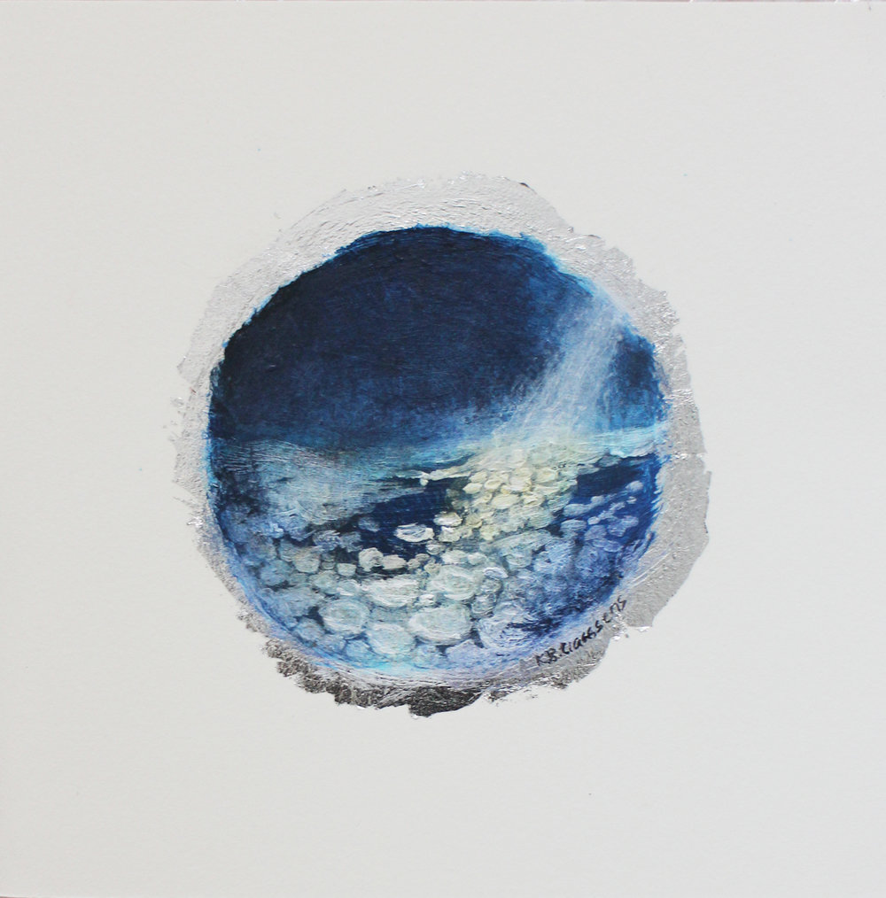 Katrine Claassens  The Shortest Day II  Melted Antarctic sea ice, watercolour & acrylic on silver leaf  12,5 x 12,5 cm