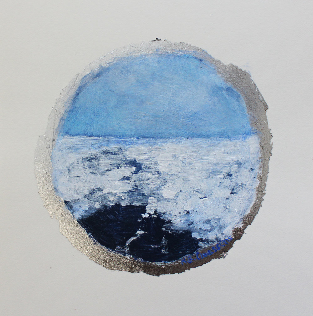 Katrine Claassens  The Shortest Day III  Melted Antarctic sea ice, watercolour & acrylic on silver leaf  15 x 15 cm