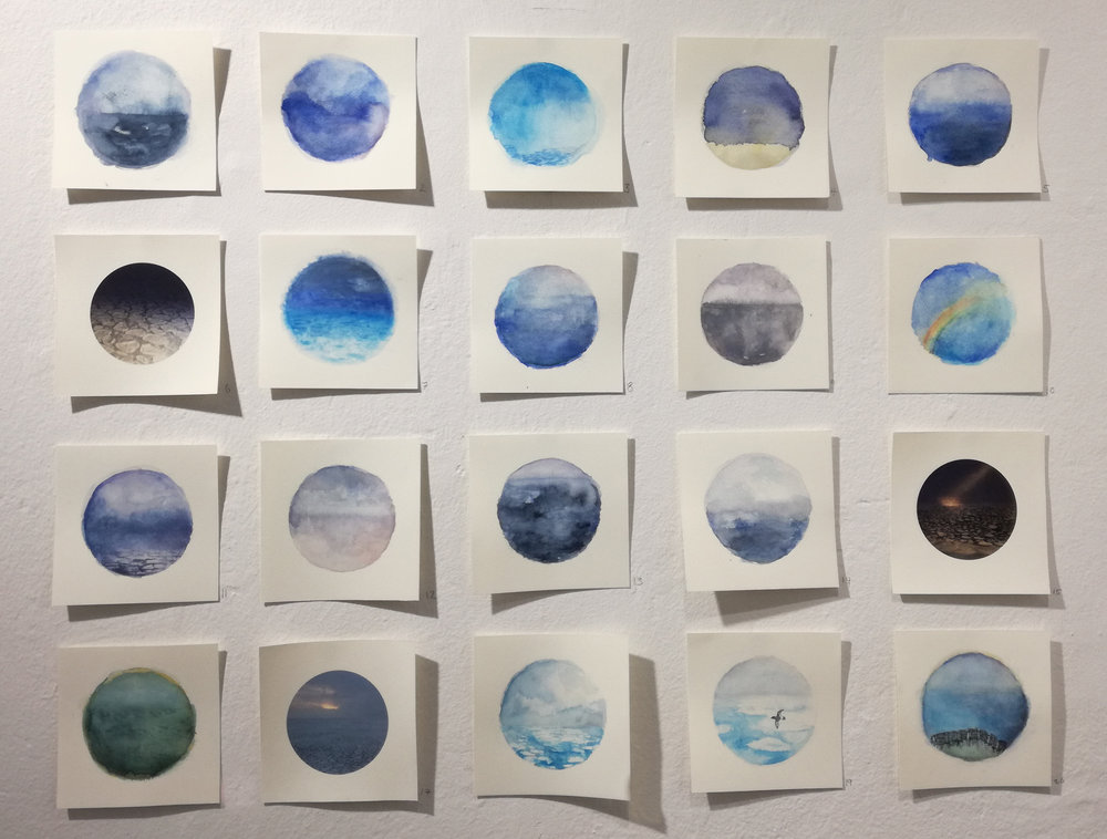 Katrine Claassens  Impressions of the Southern Ocean I, July 2017  Melted Antarctic sea ice and watercolour OR digital prints soaked in melted Antarctic sea ice.  10 x 10 cm