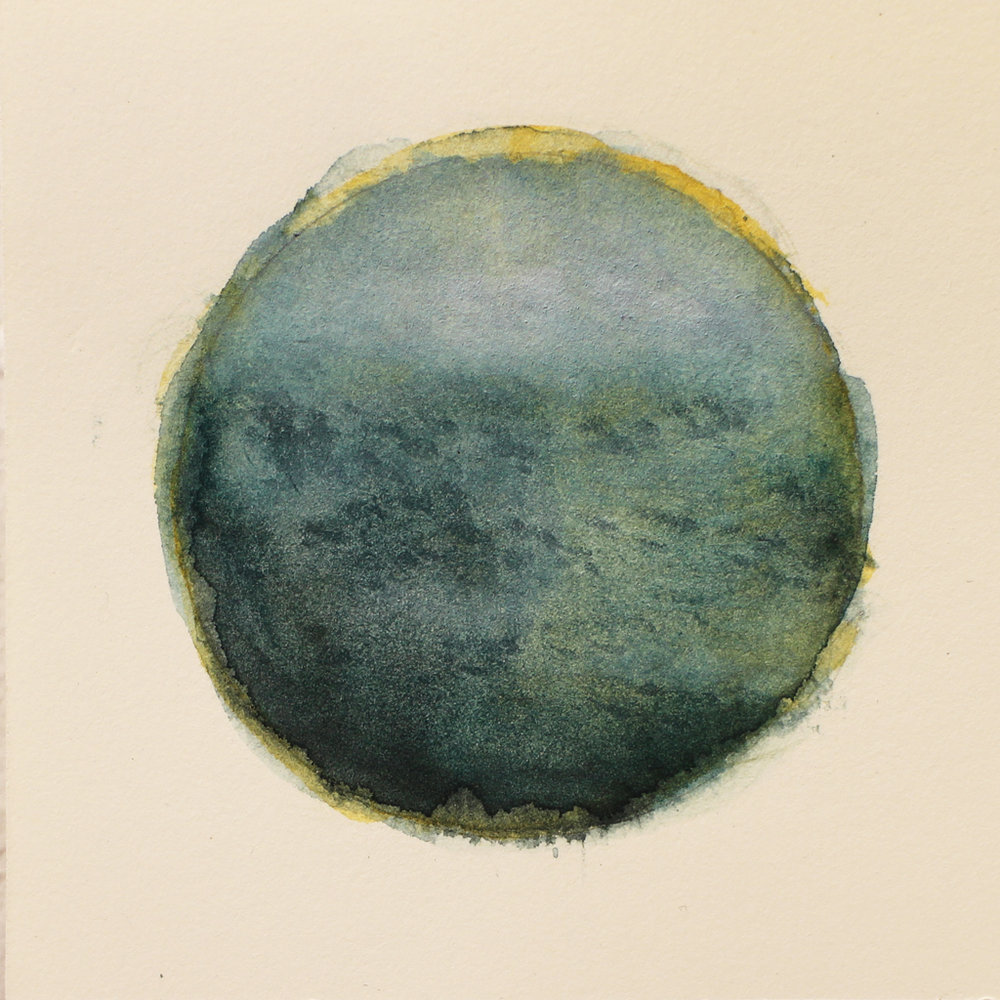 Katrine Claassens  Impressions of the Southern Ocean 16  Melted Antarctic sea ice and watercolour  10 x 10 cm