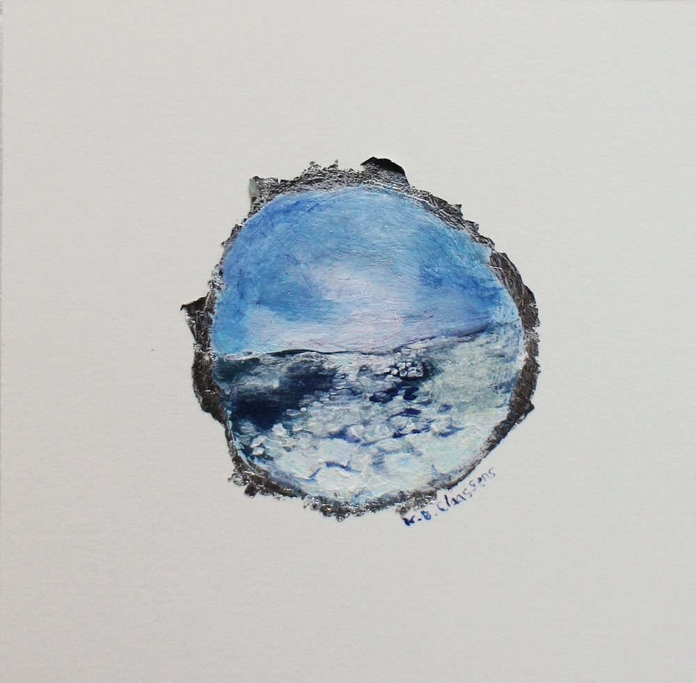 Katrine Claassens  The Shortest Day I  Melted Antarctic sea ice, watercolour & acrylic on silver leaf  11 x 11 cm
