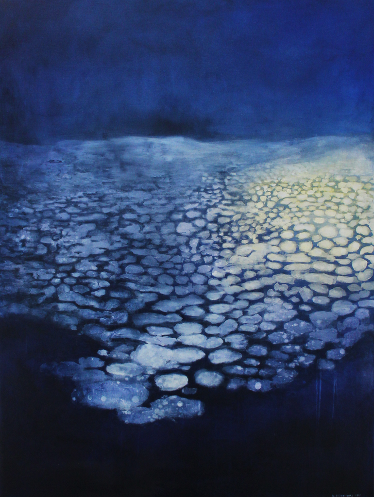 Katrine Claassens  'Ship Light in The Night', 2017  Melted Antarctic Sea Ice, Watercolour and Oil on canvas  121 x 91 cm