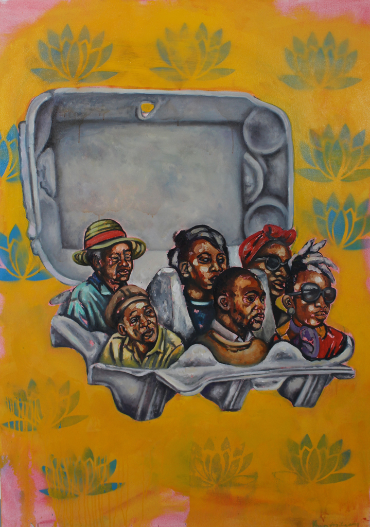 Khaya Sineyile  Ukuza kukanxele  Mixed media on canvas  150 x 100 cm