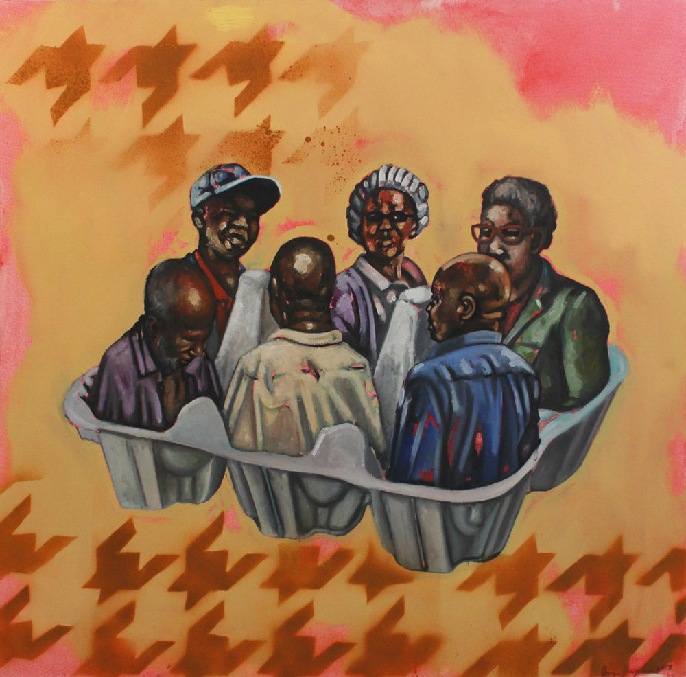 Khaya Sineyile  Sana olungaliliyo lufela embelekweni  Mixed media on canvas  115 x 115 cm