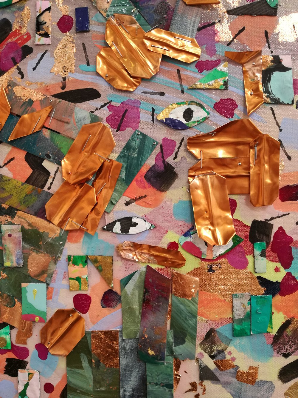 "Anastasia Pather  Detail of ""One Man's Trash""  Rejected paintings, imitation gold leaf, mixed media on canvas  160 x 110 cm"
