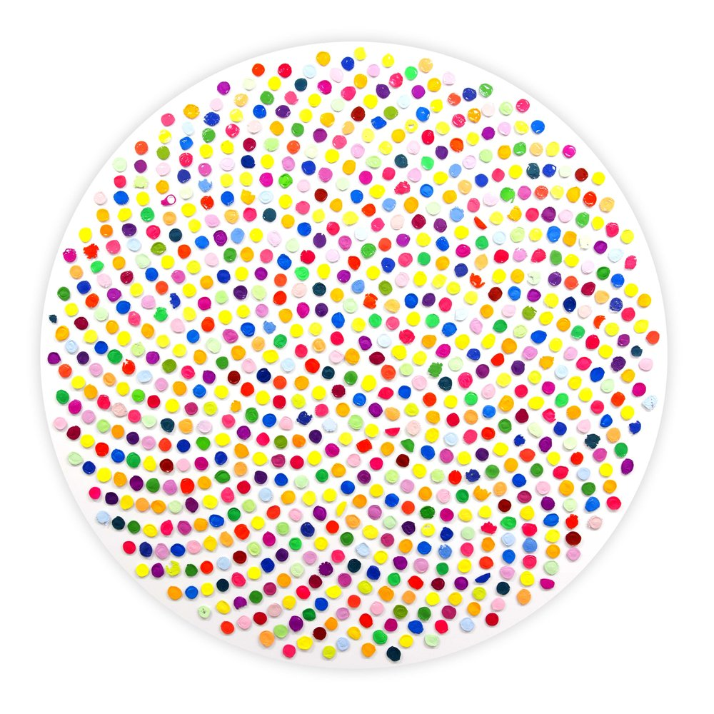 Richard Mason   Focus    Found bottle-tops & enamel on aluminium   150 x 150 cm