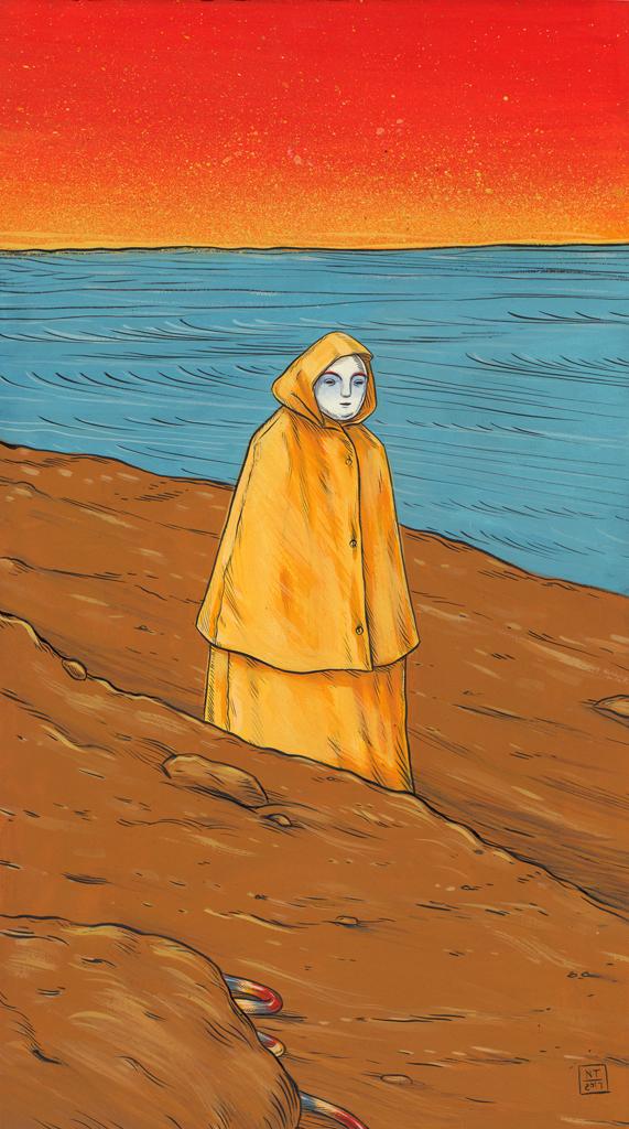 Nina Torr  Yellow Raincoat, 2017  Gouache on mounting board
