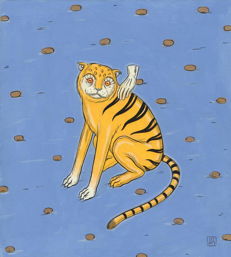 Nina Torr  Yellow Tiger, 2017  Gouache on mounting board
