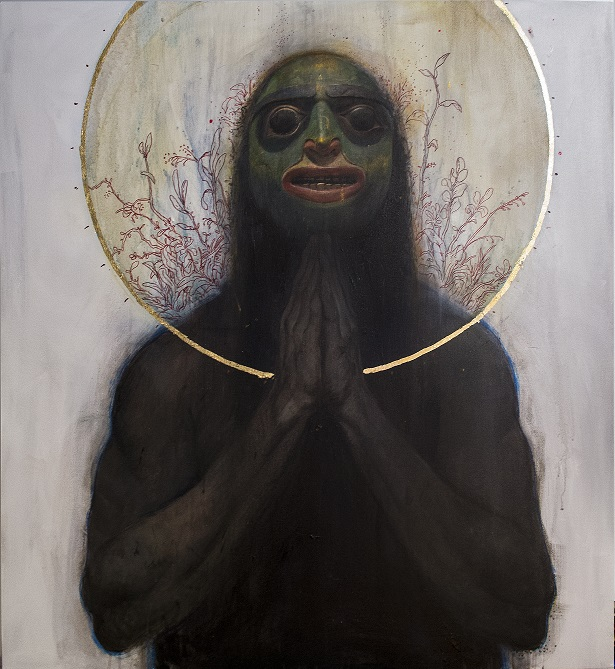 Daniel Clarke  Tlingit Prayer  Mixed media on canvas  110 x 100 cm