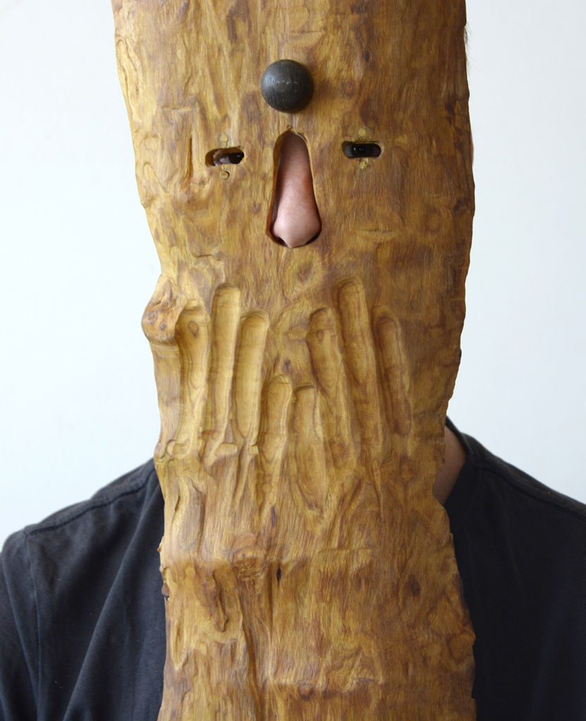 Allen Laing  Jacaranda City Workbench (detail from STFU mask)  Various woods  NFS