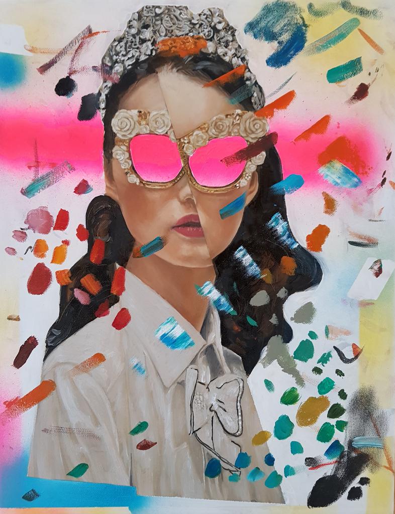 Nathan Vuuren  Queen Mask  Oil & mixed media on canvas  76 x 61 cm