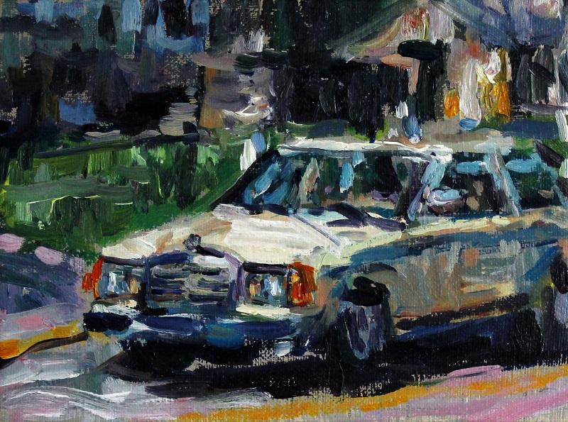 Fanie Buys  2025: Self Portrait as a car., 2017  Oil on canvas
