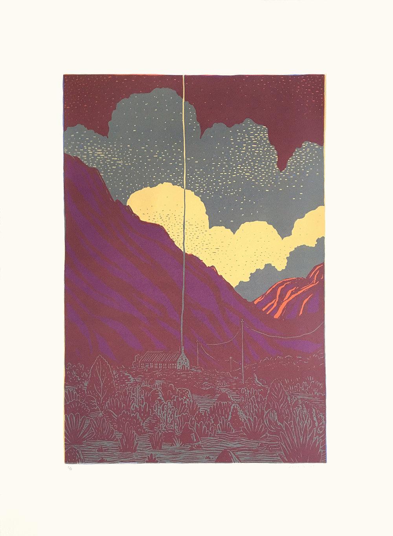 Jean de Wet  Outpost 9  Colour Screenprint on BFK Rives paper 5/12  76 x 56 cm