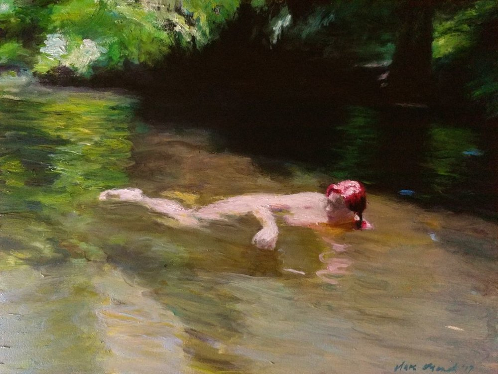Clare Menck  Languid bather amongst trees  Oil on canvas  30 x 40 cm