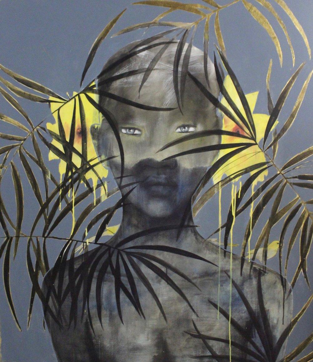 Heike Allerton-Davies  Hidden  Ink, acrylic & gold leaf on canvas  150 x 130 cm