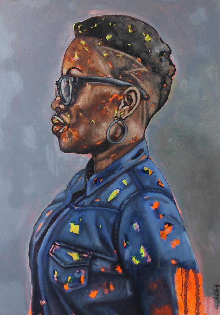 Khaya Sineyile  Sugar-Coated  Mixed media on canvas  150 x 100 cm