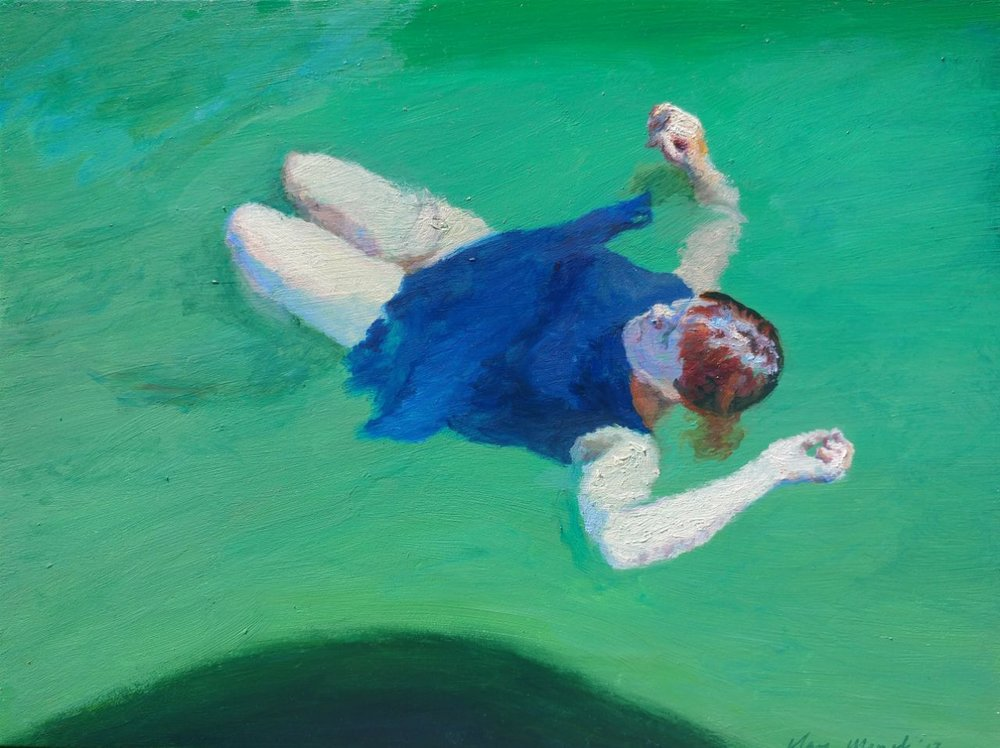 Clare Menck Floating bather immersed in emerald waters Oil on canvas 30 x 40 cm