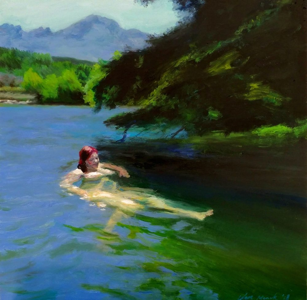 Clare Menck  Languid bather floating in a lake  Oil on panel  40 x 40 cm