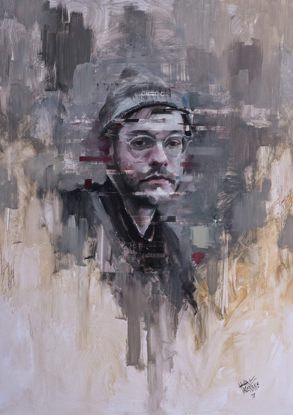 Chris Valentine  White Noise  Oil on panel  84.10 x 59.40 cm