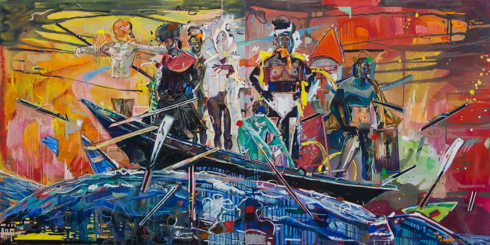 Chris Denovan  The Raft of Endless Exploration  Oil & acrylic on canvas  100 x 200 cm