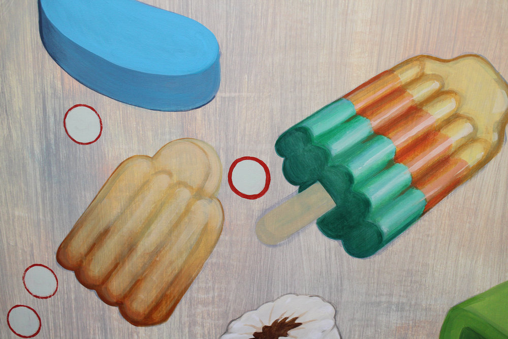 Wim Legrand  Good Things Come in Threes I (detail)  Acrylic on canvas  120 x 100 cm